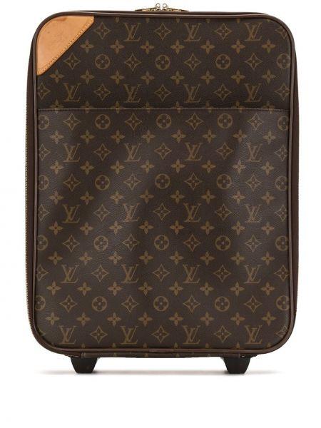 Золотистый коричневый чемодан на молнии с карманами Louis Vuitton