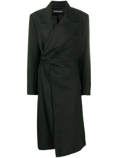 Шерстяное черное длинное пальто с карманами Y/project