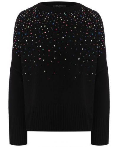 Кашемировый черный свитер с круглым вырезом для взрослых St. John