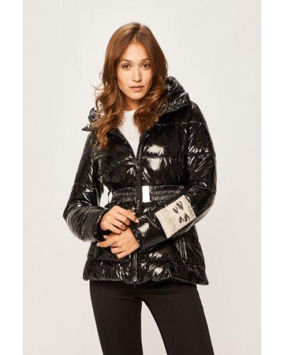 Прямая черная стеганая куртка с поясом Pinko