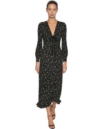 Шелковое черное платье макси с длинными рукавами Miu Miu