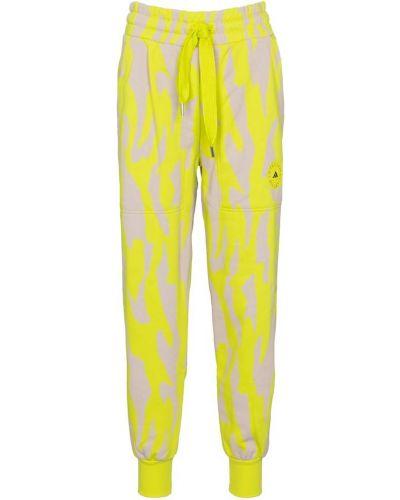 Żółte joggery do biegania bawełniane Adidas By Stella Mccartney