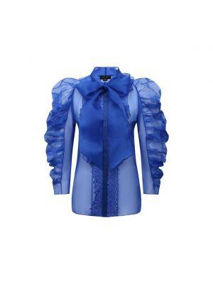 Синяя шелковая блузка с декоративной отделкой Zuhair Murad