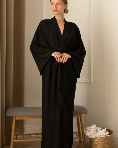 Шелковый халат - черный Forli