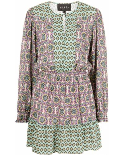 Шелковое розовое платье макси с длинными рукавами Nicole Miller