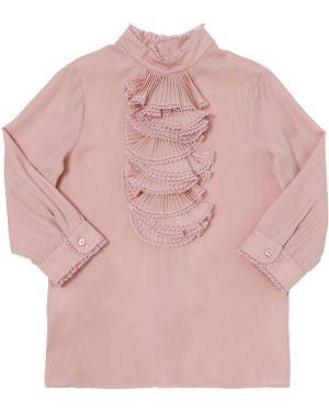 Różowa koszula koronkowa z długimi rękawami Gucci