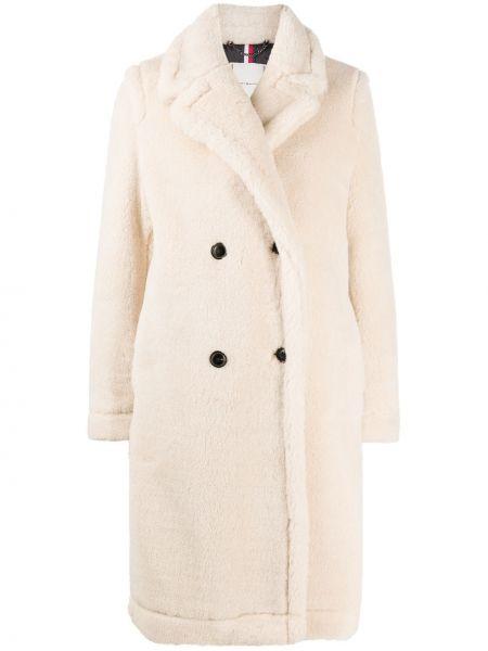 Белое длинное пальто с воротником двубортное Tommy Hilfiger