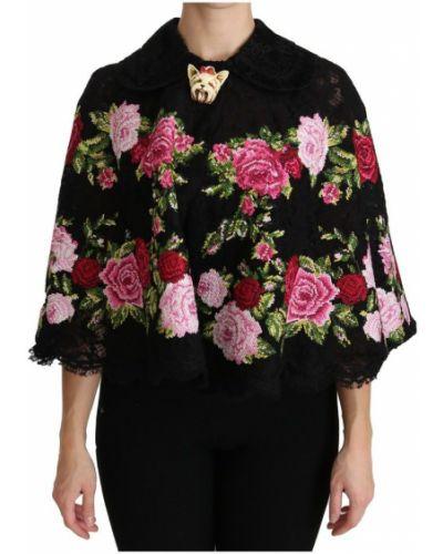 Czarny ponczo z printem Dolce And Gabbana