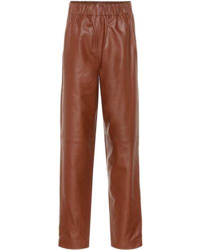 Skórzany brązowy spodnie Tibi