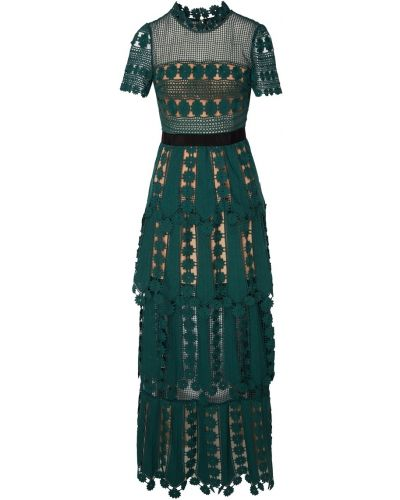 Платье макси футляр зеленый Self-portrait