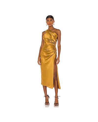 Горчичное шелковое платье миди на молнии с оборками Michelle Mason
