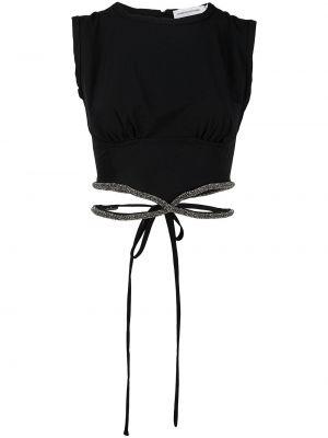 Черный хлопковый укороченный топ Christopher Esber