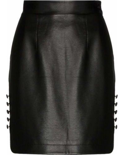 Черная юбка мини на пуговицах из искусственной кожи Matériel