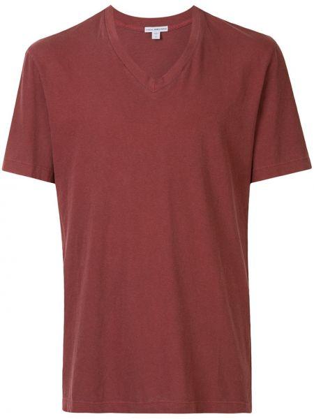 Koszula krótkie z krótkim rękawem prosto z dekoltem w szpic James Perse