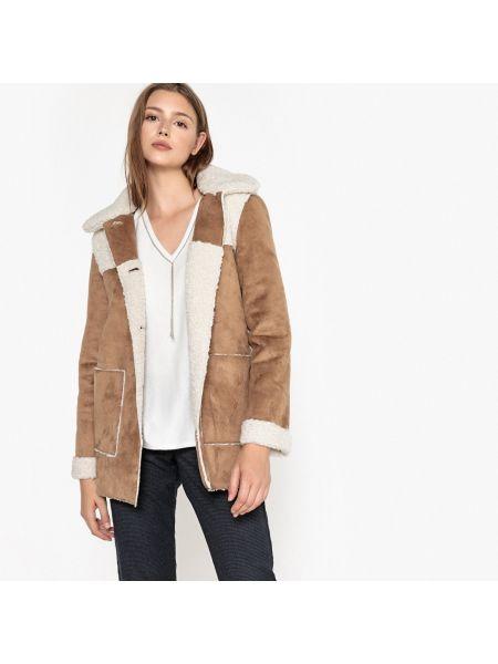 Бежевое пальто с воротником на пуговицах с капюшоном Sud Express