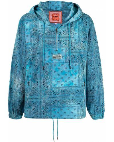 Niebieska bluza z nadrukiem z kapturem bawełniana Alchemist