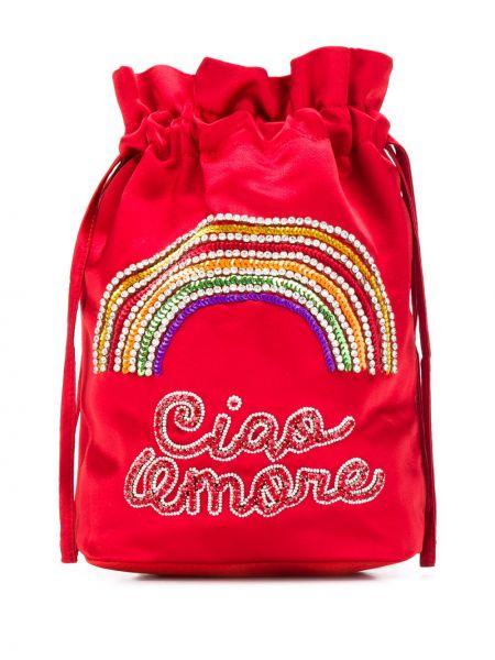 Satynowa torebka mini z haftem Giada Benincasa