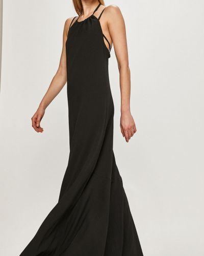 Czarna sukienka koktajlowa rozkloszowana na co dzień Trussardi Jeans