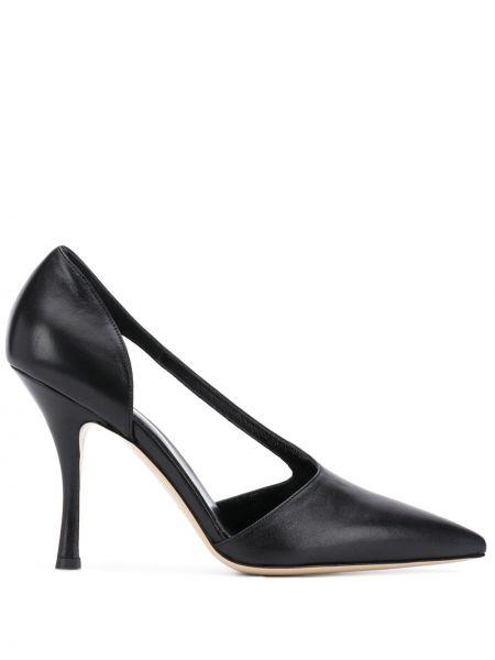 Кожаные черные туфли-лодочки без застежки на каблуке Vejas