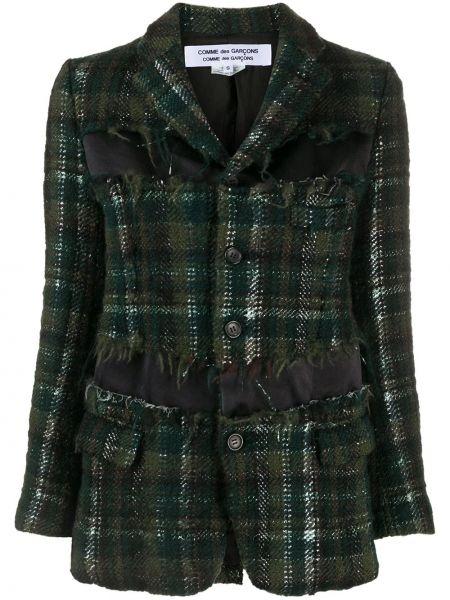 Черный удлиненный пиджак твидовый для полных Comme Des Garçons