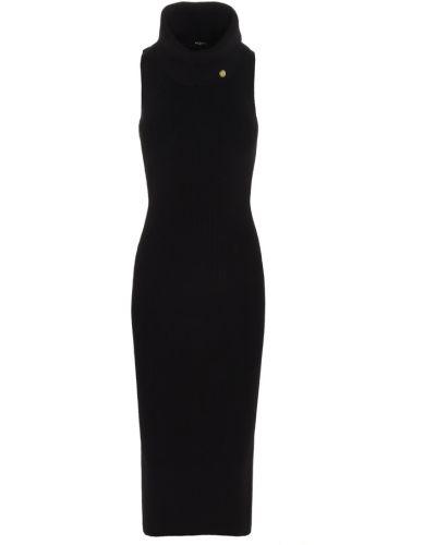 Czarna sukienka midi z wiskozy bez rękawów Balmain