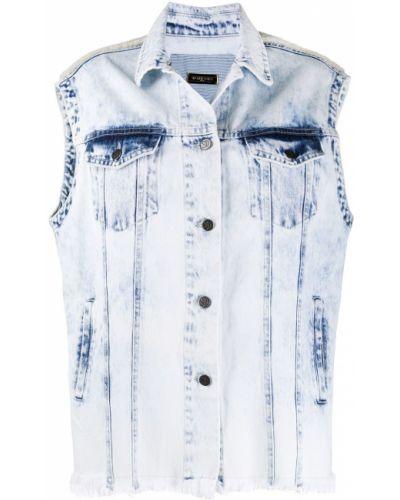Синяя кожаная джинсовая куртка без рукавов Simonetta Ravizza