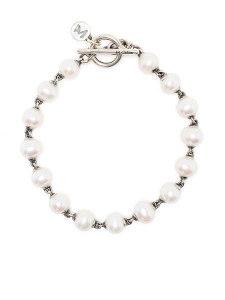 Biała bransoletka srebrna M. Cohen