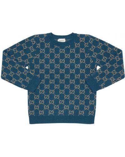 Niebieski światło wełniany sweter z mankietami Gucci