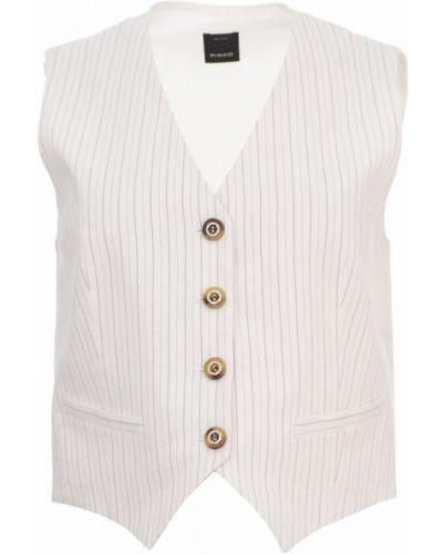 Biała kamizelka elegancka zapinane na guziki z dekoltem w serek Pinko