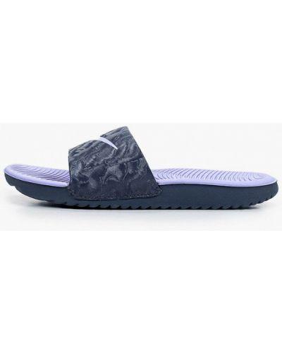 Кожаные синие сланцы Nike