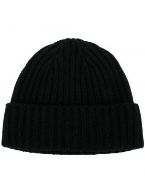 Кашемировая черная шапка в рубчик N.peal