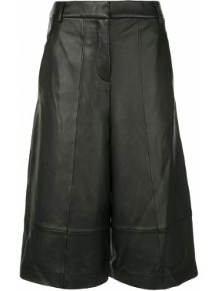 Черные кожаные шорты с карманами Tibi