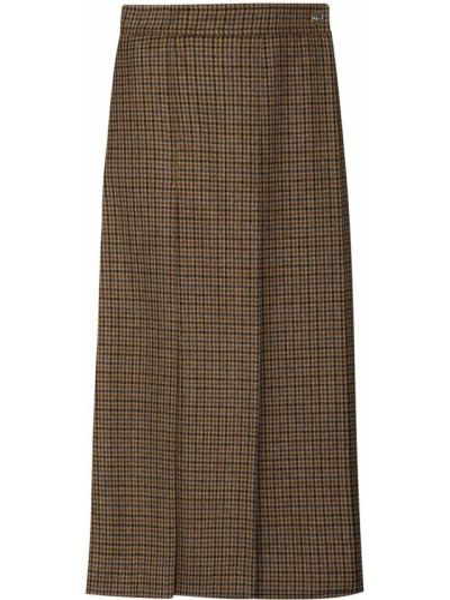 Wełniany brązowy z wysokim stanem spódnica midi Gucci