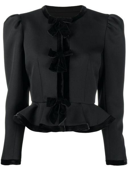 Шерстяной черный приталенный удлиненный пиджак Alessandra Rich