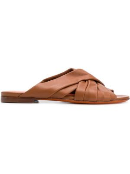 Brązowe sandały skorzane peep toe Santoni