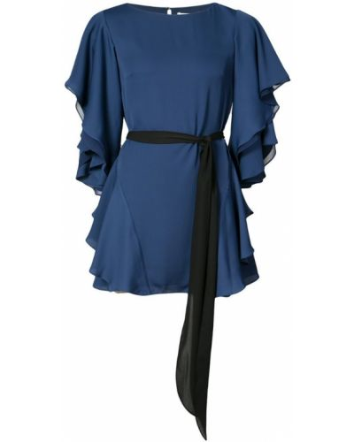 Синее платье с оборками Halston Heritage