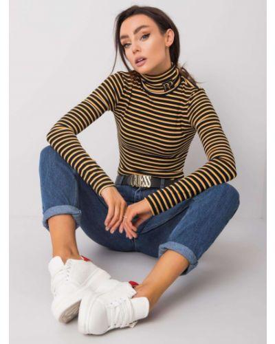 Czarny sweter w paski bawełniany Fashionhunters