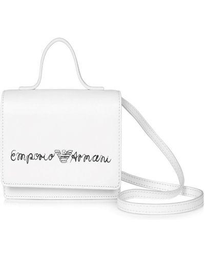 Biała torba na ramię z printem Emporio Armani Kids