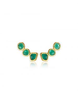 Серьги позолоченные - зеленые Monica Vinader