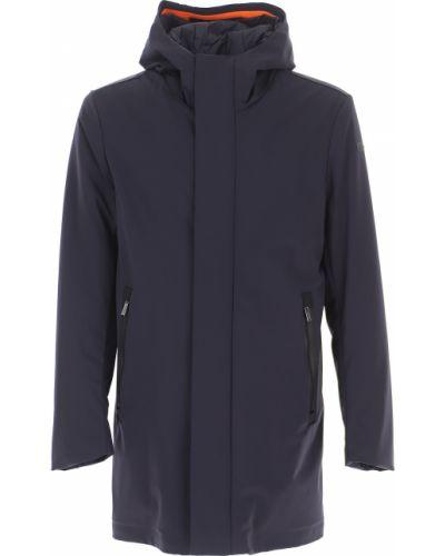 Niebieski zimowy płaszcz z kieszeniami na przyciskach od płaszcza przeciwdeszczowego Rrd
