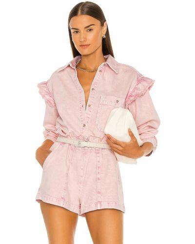 Różowa koszula bawełniana z paskiem Something Navy