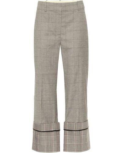 Ватные шерстяные серые брюки свободного кроя Monse