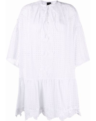 Хлопковое кружевное белое платье Pinko