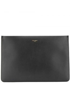 Кожаный черный клатч на молнии с карманами Dolce & Gabbana