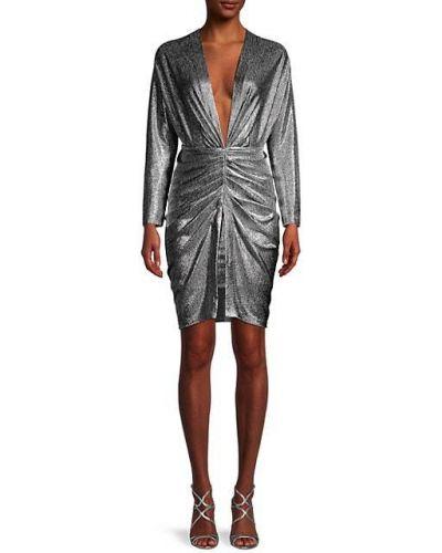 Серебряное платье макси с длинными рукавами с декольте Iro