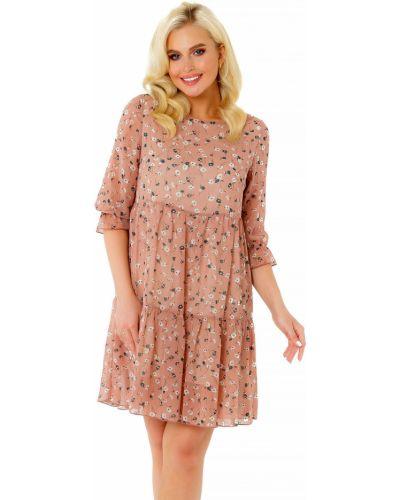 Шифоновое платье на торжество на резинке с оборками Liza Fashion