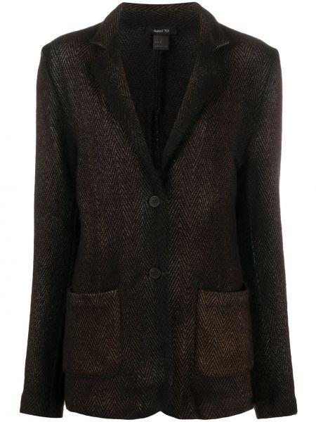 Однобортный коричневый удлиненный пиджак с карманами Avant Toi