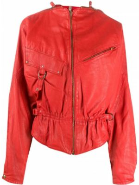 Красная кожаная куртка на молнии A.n.g.e.l.o. Vintage Cult