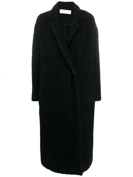 Шерстяное черное длинное пальто оверсайз Société Anonyme