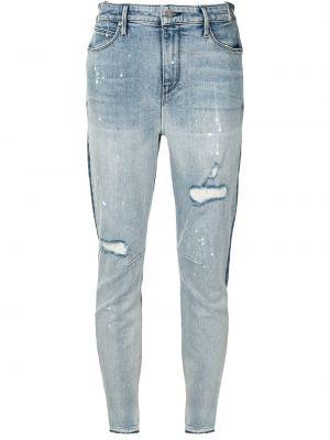 Niebieskie jeansy bawełniane z niskim stanem Rta